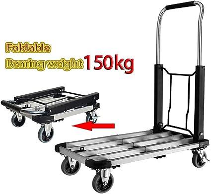 80 kg Capacity Lightweight Folding Trolley Heavy Duty Folding Wheels Industrial Load Trolley Luggage Wheels Trolley Folding Hand Truck Trolley SA Products Foldable Sack Truck