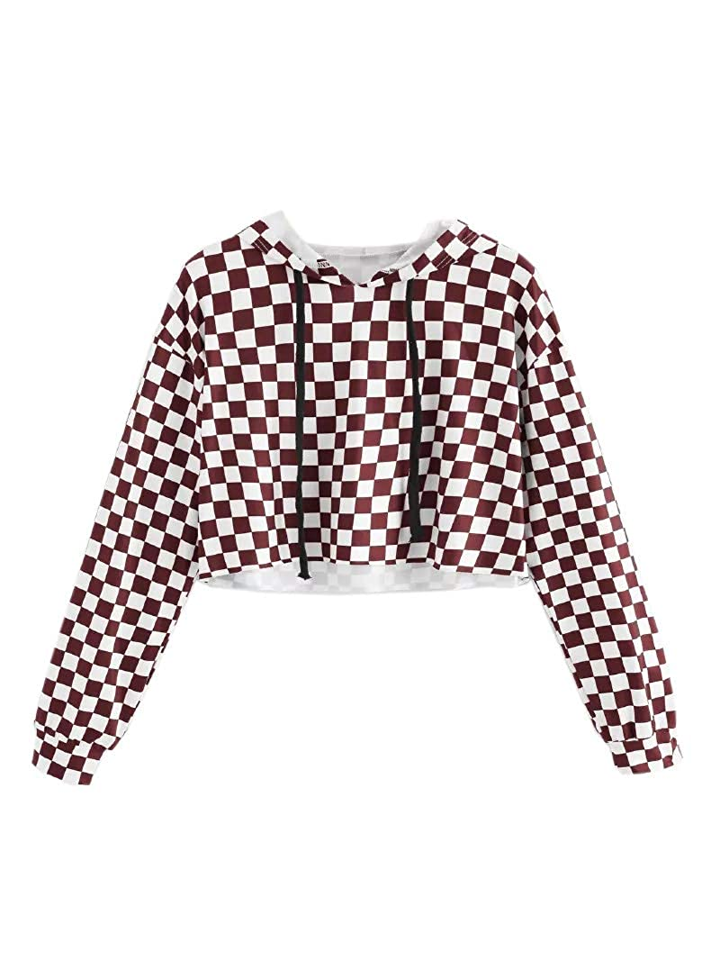 KunLunMen Kids Crop Tops Girls Sweatshirts Long Sleeve Plaid Hoodies