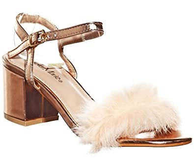 2cff8646c0b Fluffy Feather Strap Low Heel Shoes (5.5