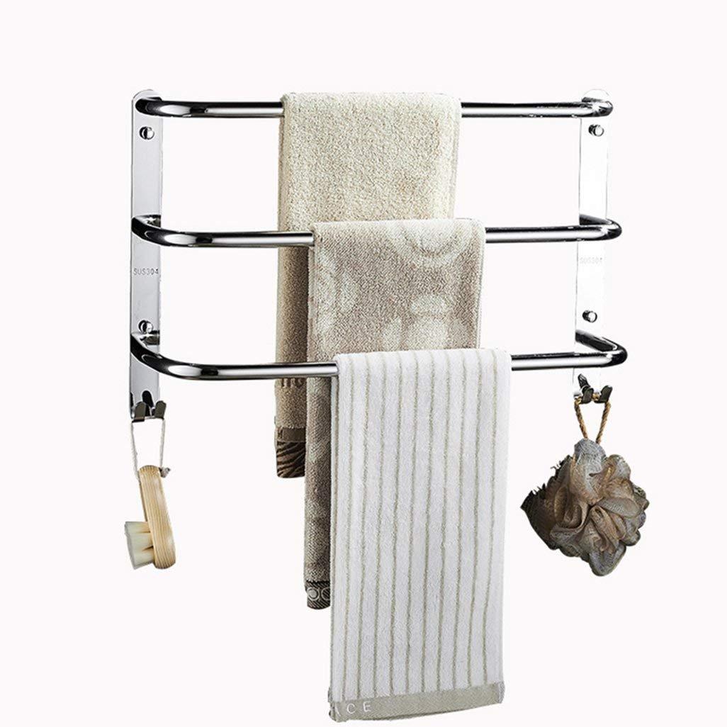 Taille: 40cm MY1MEY Porte-Serviettes Triple en Acier Inoxydable SUS 304 Porte-Serviettes /à Finition polie Porte-Serviettes Mural pour Salle de Bains ou Cuisine avec Crochets