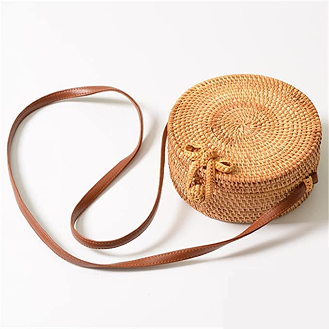 Bamboo Women s Seagrass Woven Bali Round Shape Handbag  Amazon.in  Clothing    Accessories