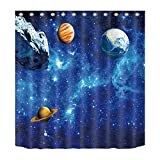 LB Planets Asteroid Solar System Galaxy Background Shower Curtain Set for Bathrooms, Space Design Print Curtain, 70x70 Fabric Shower Curtain Waterproof Mold Free