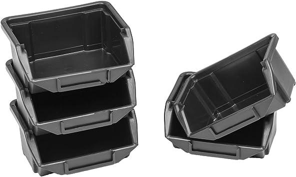 60 cajas de almacenaje apilables Cajas de almacenaje apilables Cajas de almacenamiento de plástico PP 110 x 90 x 50 GR 0 negras.: Amazon.es: Bricolaje y herramientas