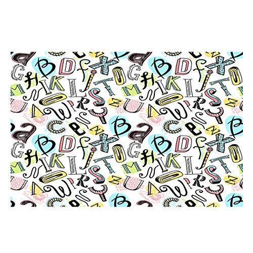 Libaoge Graffiti Art Aquarium Background Double Sides, Colorful Baby Alphabet Fish Tank Decor Sticker Wallpaper Vinyl Photo Adhesive Paper Poster Backdrop, 60.8