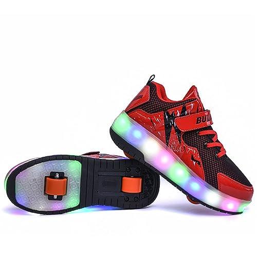 Ali-tone LED USB Recargable niños niñas Patines de Ruedas Zapatos con Ruedas Dobles Ruedas Individuales retráctil Skateboard Patines al Aire Libre Deportes ...