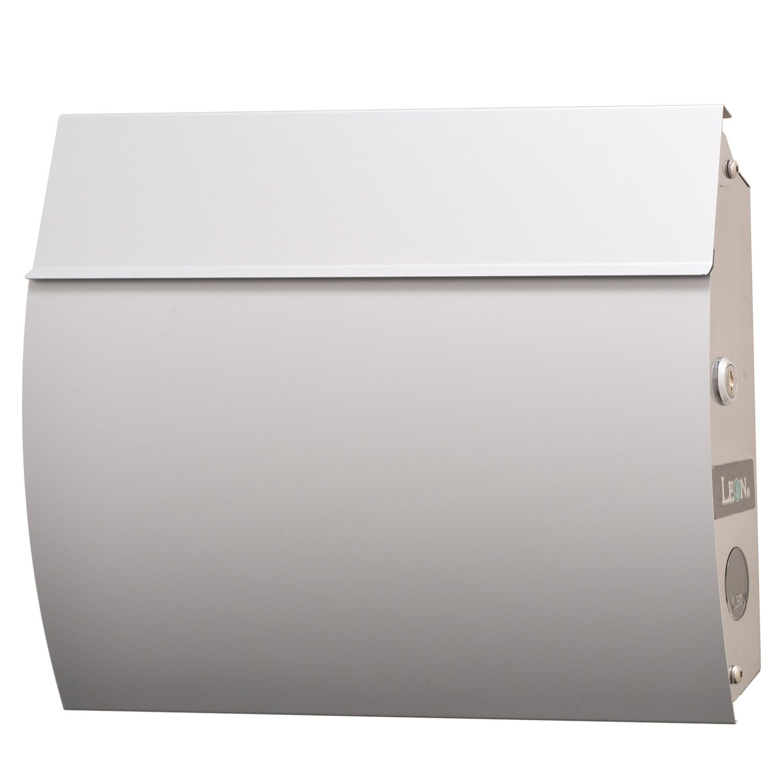 LEON (レオン) MB4801 郵便ポスト 壁掛けタイプ ステンレス製 鍵付き おしゃれ 大型 ポスト 郵便受け (マグネット付き) (MAIL BOXシート無し) シルバー B00RTFFQQM 24624 シルバー シルバー