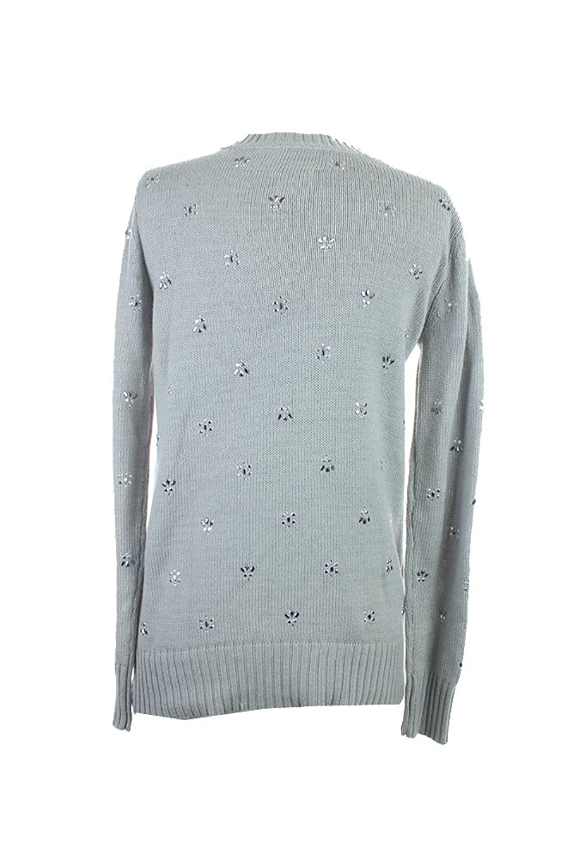 Maison Jules Charcoal Rhinestone-Embellished Crew-Neck Sweater S