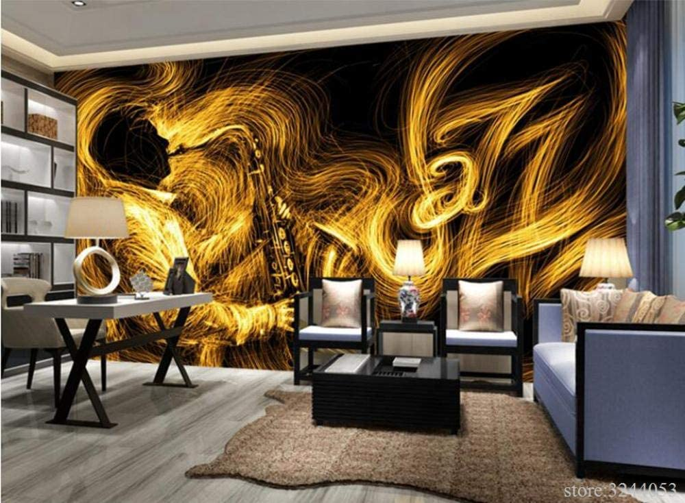 Muraon Gold Wallpaper For Walls Abstract Golden Saxophone Jazz Music Best Wallpapers Bedroom Wall Art Wall Designs For Living Room 430x300 Cm 169 3 By 118 1 In Amazon Co Uk Diy Tools