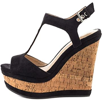 df4e577683f MERUMOTE Women s Wedges Sandals High Platform Open Toe Ankle Strap Shoes