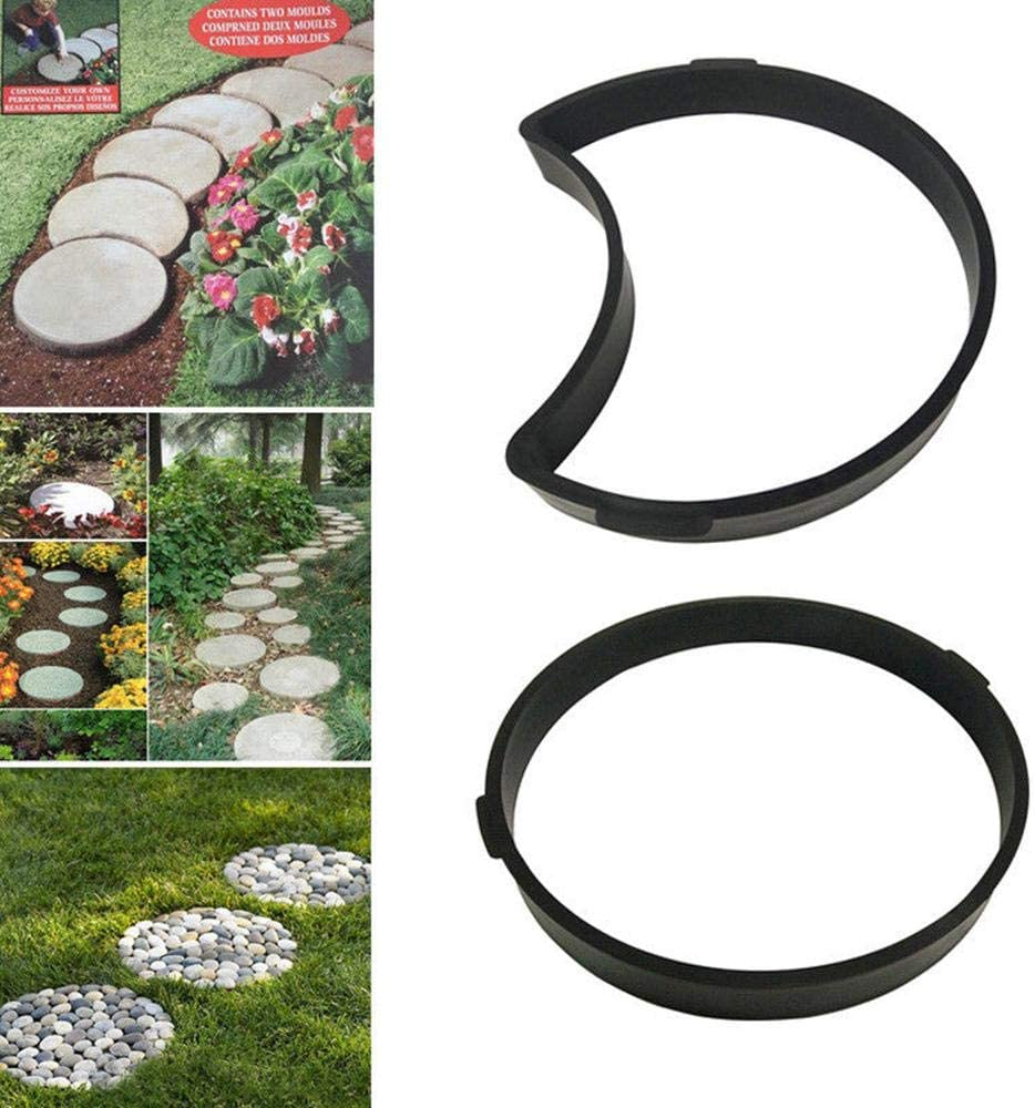 Vuffuw Path Maker Reusable Irregular Concrete Mold Stepping Stone Paver O-Shaped and Semi-O-Shaped can be Used Together for DIY Walkway,Lawn,Yard,Garden