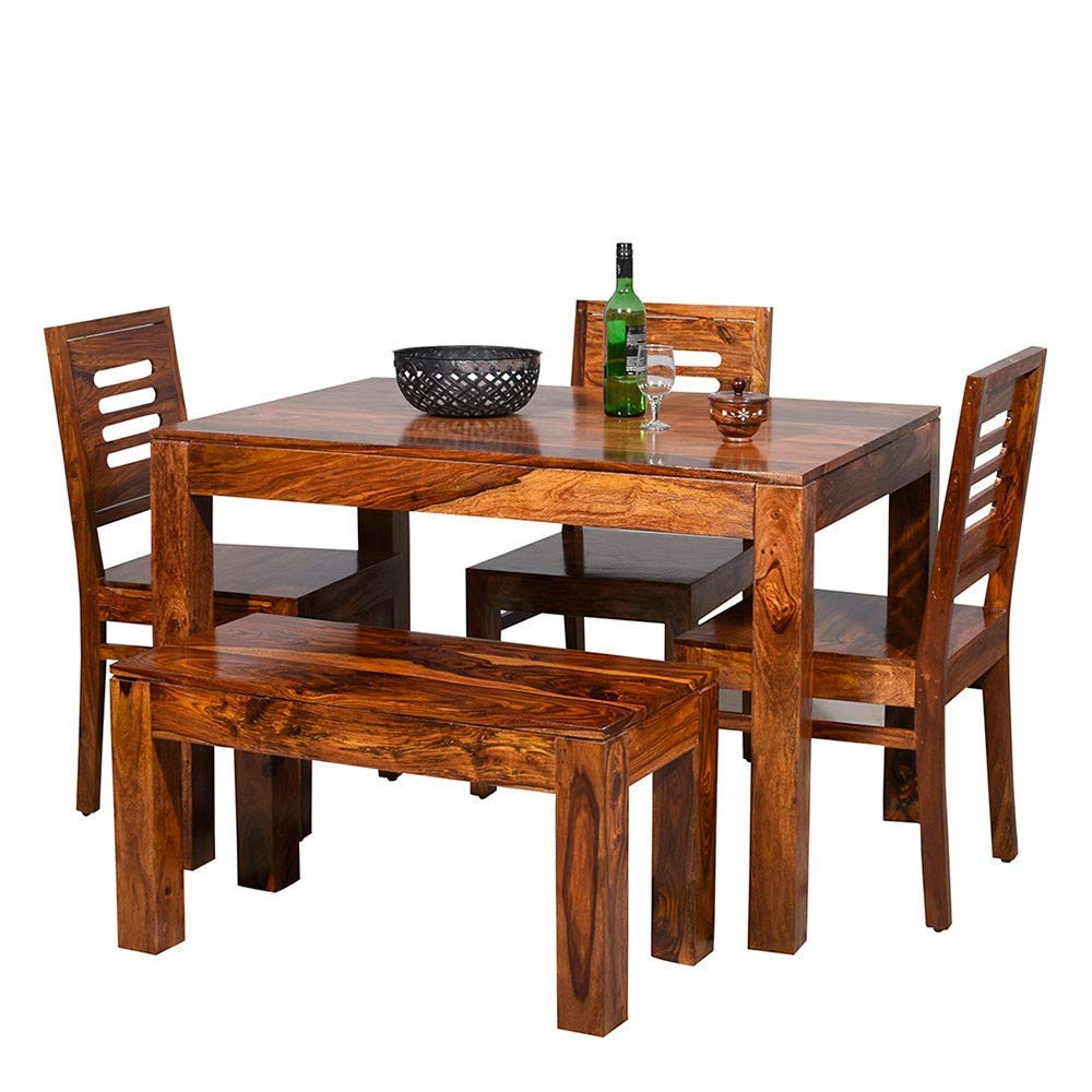 Mahimart And Handicrafts Furniture World Sheesham Wooden Dining Table 4 Seater Dining Table Set With 3 Chairs 1 Bench Home Dining Room Furniture Honey Finish Amazon In Home Kitchen