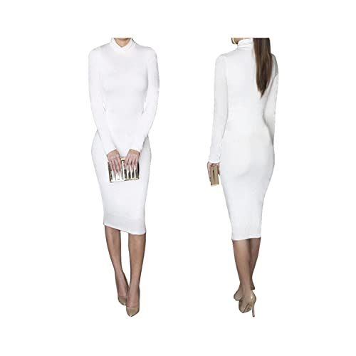 bess bridal women turtleneck long sleeve stretch christmas party club midi dress - White Christmas Dress