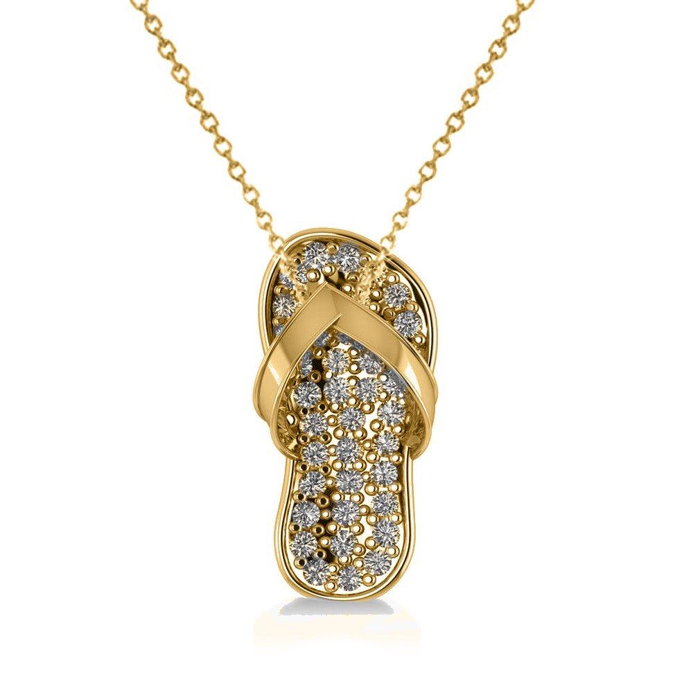 Allurez Diamond Summer Flip-Flop Pendant Charm Necklace in 14k Yellow Gold (0.76ct)