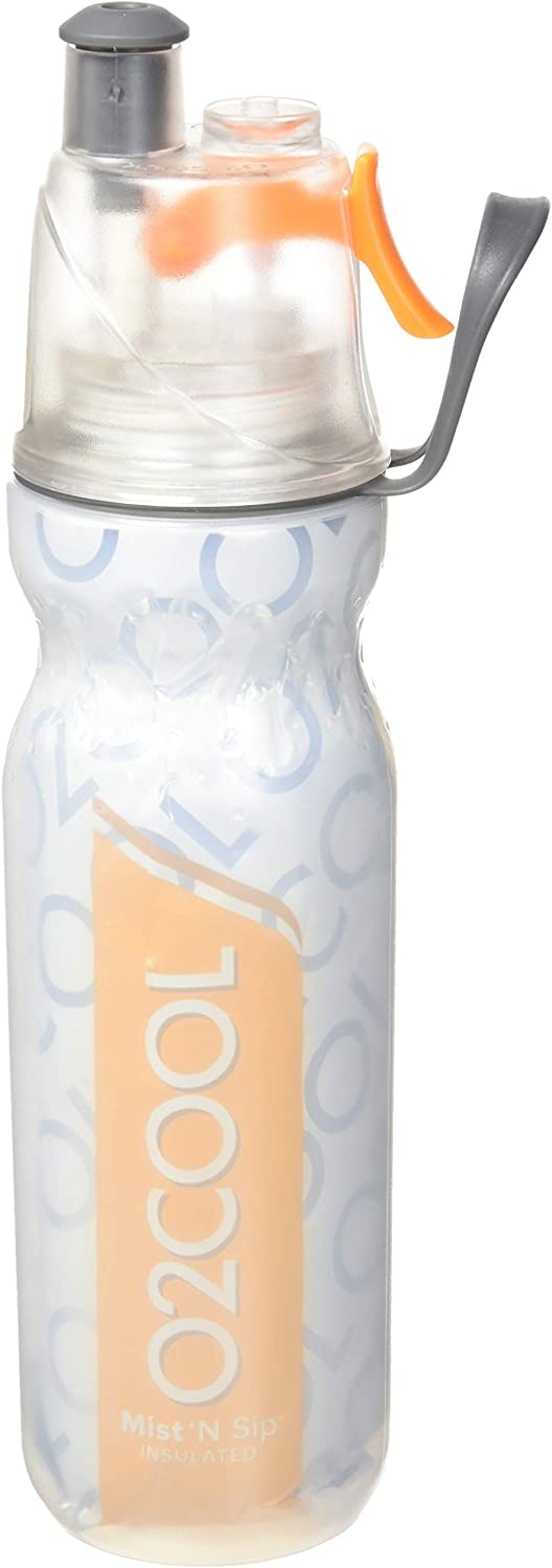 O2COOL ArcticSqueeze Insulated Mist 'N Sip Squeeze Sports Water Bottle-20 oz, Orange, 20 Ounce