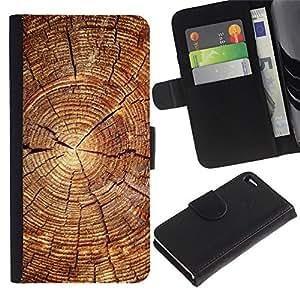 Protector de cuero de la PU de la cubierta del estilo de la carpeta del tirón BY RAYDREAMMM - Apple Iphone 4 / 4S - Bloque de madera del patrón