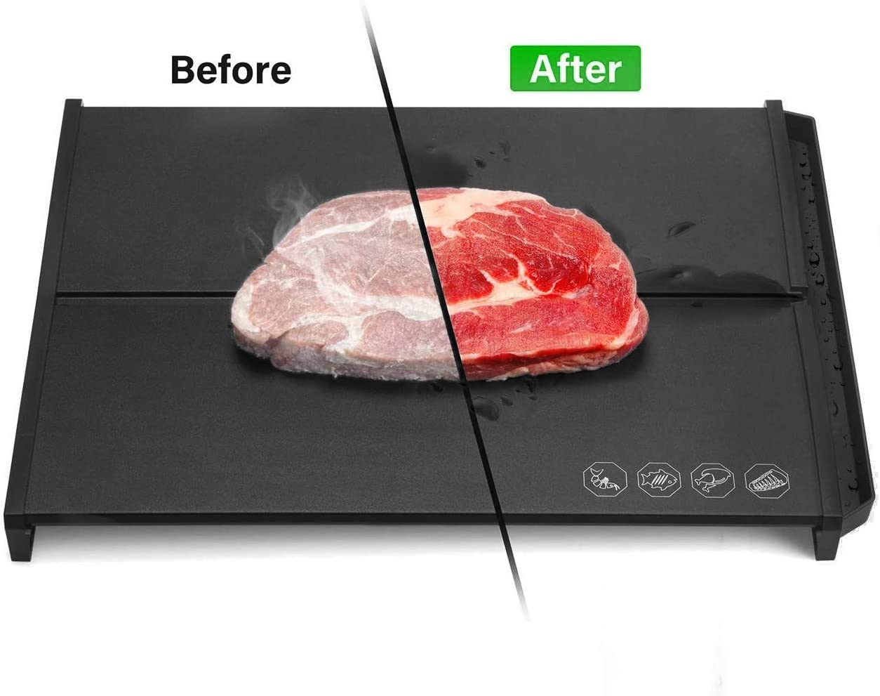 Fast Defrosting Tray, Meat Defrost Tray for Frozen Food, Eco Friendly Rapid Thawing Plate Defrost Meats Frozen Foods,with Water Juice Drip Storage Groove