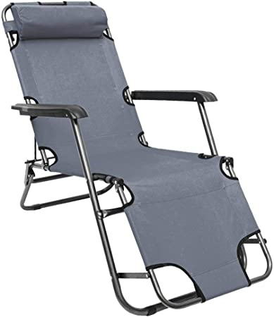 AMANKA Chaise Longue inclinable et Pliante Transat de Jardin 153 cm + appuie tête Amovible + Repose Jambes et Dossier inclinables Gris