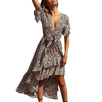 e00bbbf83fba Women Leopard V-Neck Split Chiffon Maxi Beach Dress Wedding Party ...