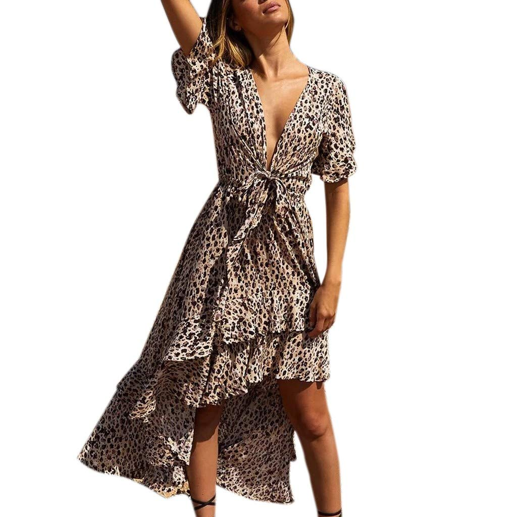Quelife Dress for Women Fashion Casual Floral Print V-Neck Leopard Bow Irregular Long Sleeve Skirt for Party Club Girl (Brown,S)