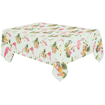 InterestPrint Home Decoration Summer Pink Flamingo Bird Cotton Linen Tablecloth  60 X 120 Inches, Tropical