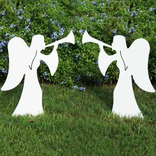teak isle christmas outdoor 2 piece nativity angel set - Christmas Angel Decorations