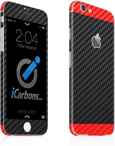 2 tono iCarbons negro/rojo de fibra de carbono vinilo adhesivo ...