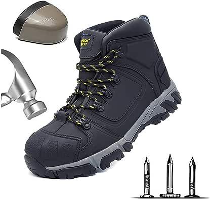 HOAPL Botas de Trabajo para Hombres Ligeras Punteras de Acero Gorro de Botas de Seguridad Transpirables Construcción Calzado de protección Puntera de Acero Antideslizante Zapatos de construcción: Amazon.es: Zapatos y complementos