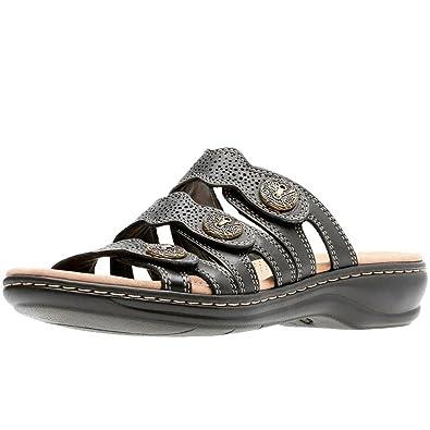 Clarks Leisa Grace Damen Schwarz Leder Maultier Sandale mit 3 Riemen
