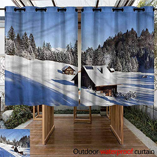Sunnyhome Outdoor Curtains Winter Log Cabins in Mountains for Porch&Beach&Patio W 63