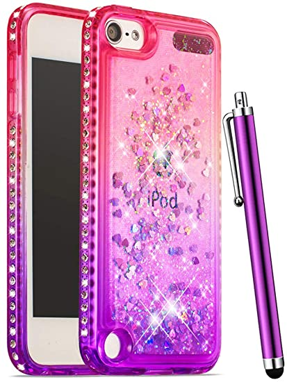timeless design 97c75 77ebe CAIYUNL Glitter Case iPod 6th Generation Case,iPod 6 Case Girls Bling  Liquid Sparkle Rhinestone Case Soft TPU Kids Women Protective Cover Apple  iPod ...