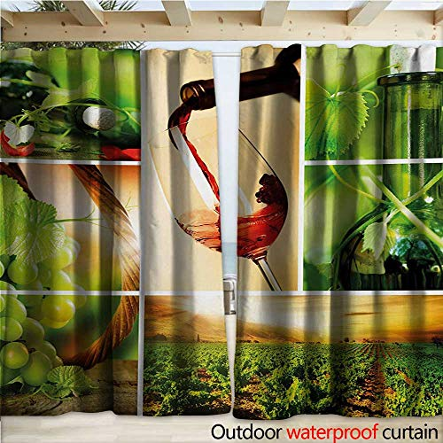 Wine Outdoor Curtain Wine Tasting and Grapevine Collage Green Fresh Field Pouring Drink Delicious W120 x L108 Green Ruby Caramel
