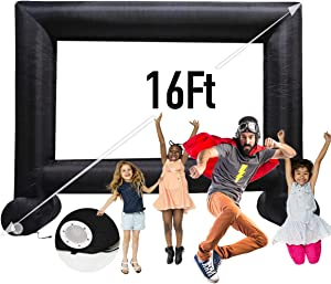 Sewinfla 16Ft Inflatable Movie Screen with Blower - Front and Rear Projection - Blow Up Outdoor and Indoor Projector Screen for Party, Easy to Set Up