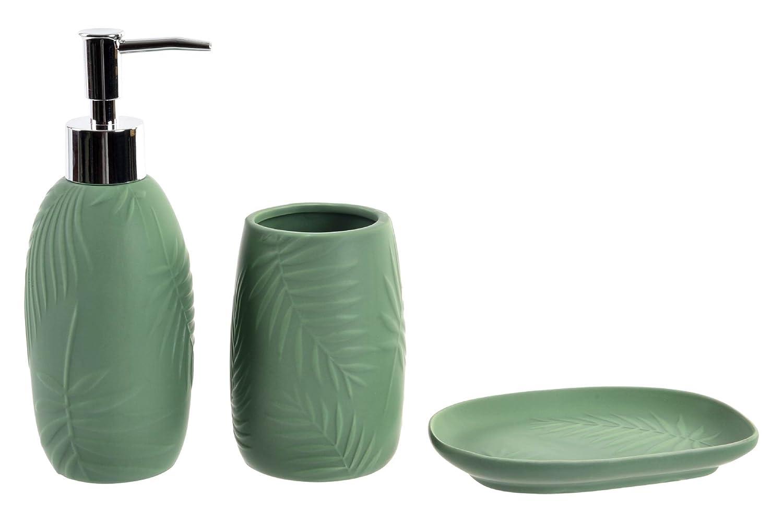 60%OFF Item 3 Piece Green Fern Ceramic Bathroom Accessories Set ...