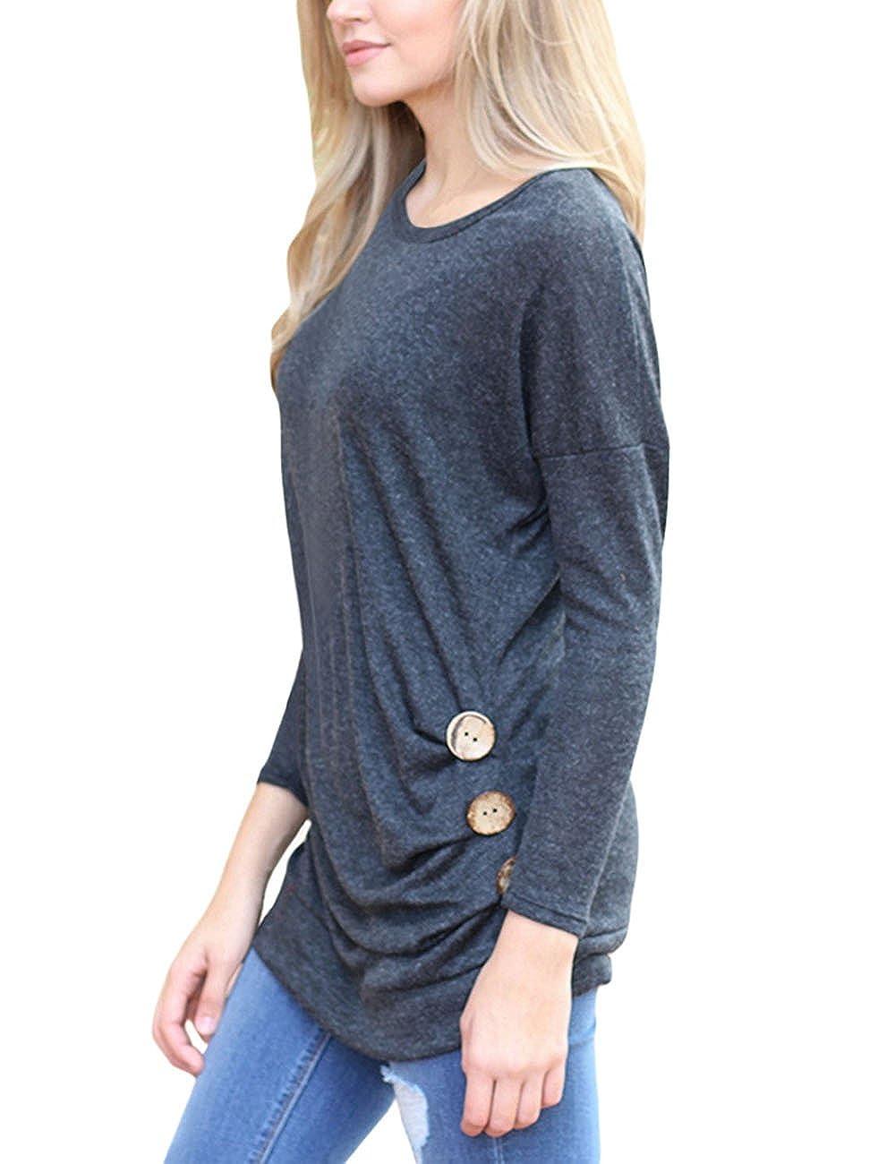 Yonala Womens Long Sleeve Casual Round Neck Button Top Blouse Tunic T Shirt 1553512091158