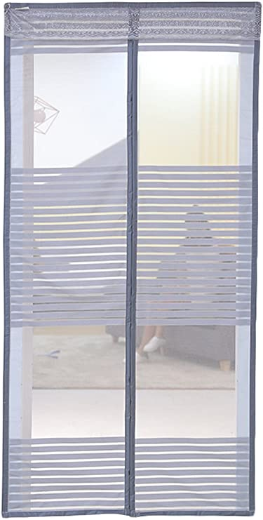 Liveinu Moustiquaire Porte Magn/étique Moustiquaire Sur Mesure de Porte Rideau de Porte Antimoustique Pour Couloirs Portes Patio Gris(Bande adh/ésives) 75x240cm