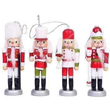 12 Stück Nussknacker Puppen Dekor Soldaten Figuren Holz Weihnachten Puppen