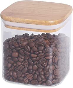 77L Food Storage Jar, Glass Food Storage Jar with Airtight Seal Bamboo Lid - 21.95 FL OZ (650 ML) Square Clear Food Storage Canister for Kitchen and Home Serving Tea, Coffee, Candy and More