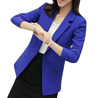 ARTFFEL-Women Casual Solid Color One Button Long Sleeve Blazer Suit Coat Outerwear