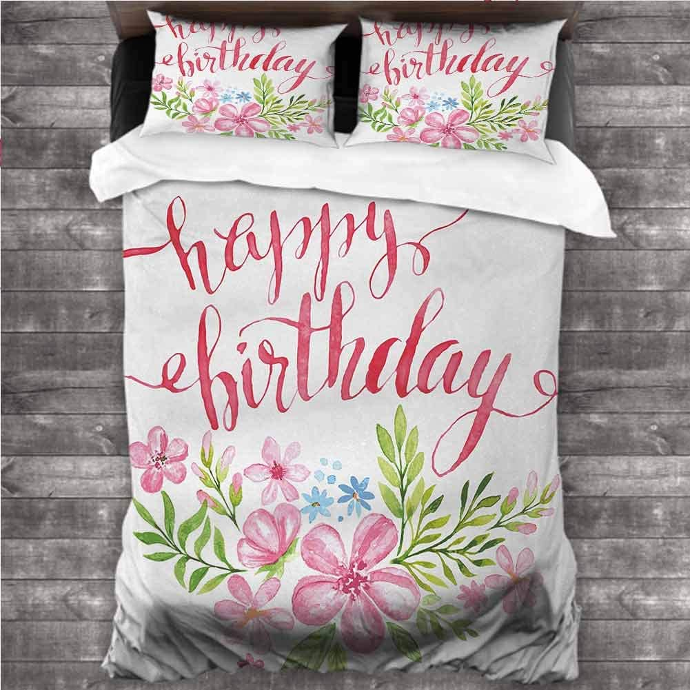 dsdsgog 100/% Brushed Microfiber Birthday,Funny Cat Sings a Greeting Song on Pink Color Backdrop with Hearts Flowers,Baby Pink Brown 70x86 inch Wrinkle Fade and Stain Resistant