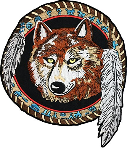 - [Large Size] Papapatch Lone Wolf Dream Catcher Indian Feather Fox Biker Rider Motorcycle Chopper Jacket Vest Costume Sew on Iron on Embroidered Applique Patch (IRON-WOLF-FEATHER-LARGE)