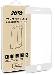 JOTO iPhone 8 / iPhone 7 Screen Protector, Full Screen Tempered Glass Screen Protector Film, Edge to Edge Protection Screen Cover Saver Guard for Apple iPhone 8 and iPhone 7 4.7 Inch -White