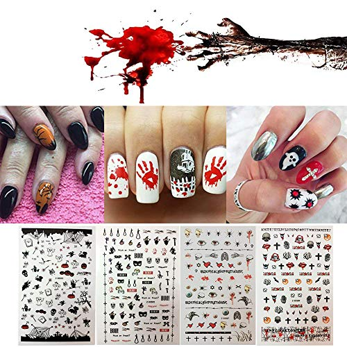 Halloween Nail Decals, Horror Tip Nail Art Stickers Self-adhesive Nail Decoration for Manicure DIY or Nail Salon (black2) ()