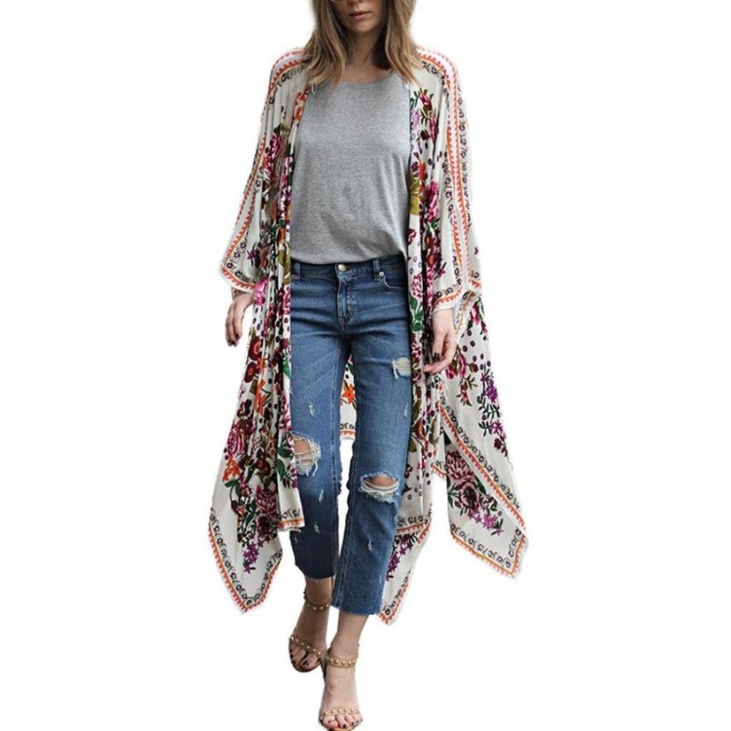 Anxinke Womens Summer Floral Printed 3/4 Sleeve Chiffon Shawl Kimono Cardigan Open Front Cover up Blouse (5XL)