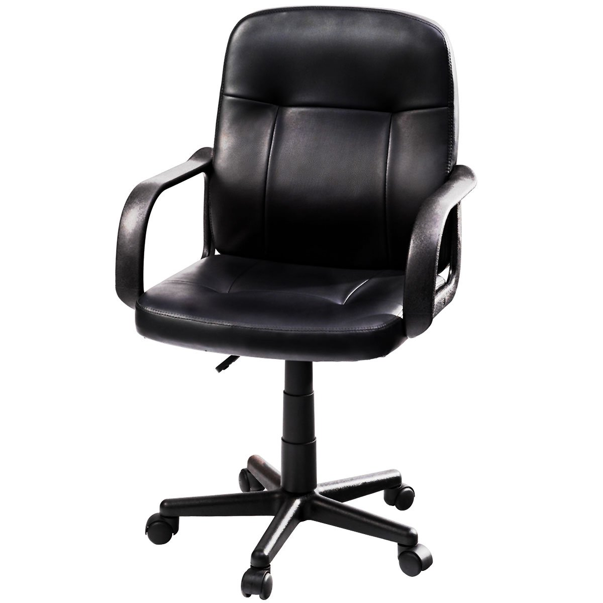 Giantex Computer Desk Office Chair Leather Mid-Back Ergonomic Upholstered Fully Adjustable Height W/ Wheels Arms Home Commercial Task Professional Swivel Office Desk Executive Chair Black