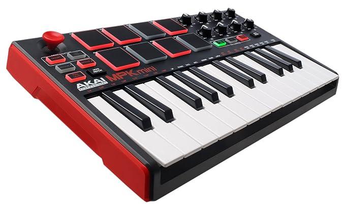 AKAI Professional MPK Mini MK2 - Clavier Maître MIDI/USB 25 Touches Sensibles à la Vélocité avec 8 Pads et Joystick 4 Voies + VIP 3.0 et Pack de Logiciels Inclus - Noir