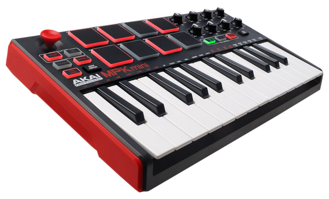Akai Professional MPK MINI MKII | 25-Key Portable USB MIDI Keyboard With 8 Backlit Performance-Ready Pads, 8-Assignable Q-Link Knobs & Software Package Included