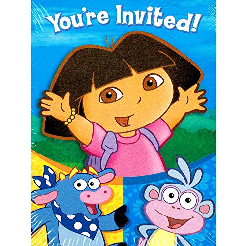 Dora the Explorer 'Party' Invitations and Thank You Notes w/ Env (8ct -