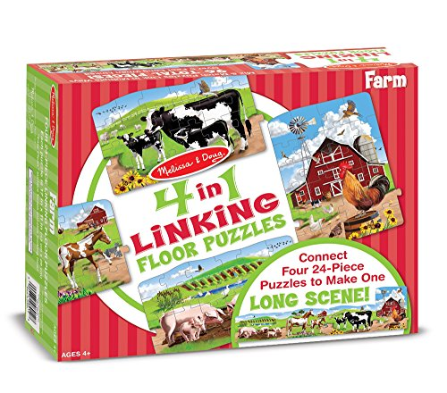 Link Floor (Melissa & Doug Farm 4-in-1 Jumbo Linking Jigsaw Floor Puzzle (96 pcs, 5 feet)