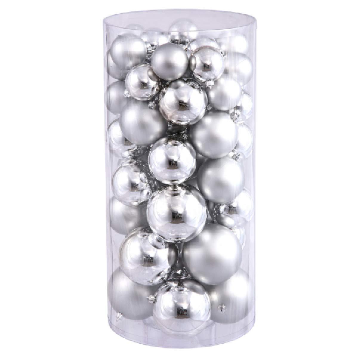 FLAMINGO_STORE Christmas Ball Ornament Silver Splendor Shatterproof Shiny and Matte Christmas Ball Ornaments 1.5''-2'' 50ct Silver Splendor Shatterproof Shiny and Matte Christmas Ball Ornaments 1.5''-2''