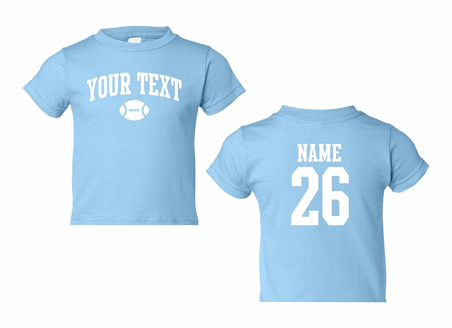 Football Arched Text Toddler Custom Personalized T-Shirt Back Name /& Number